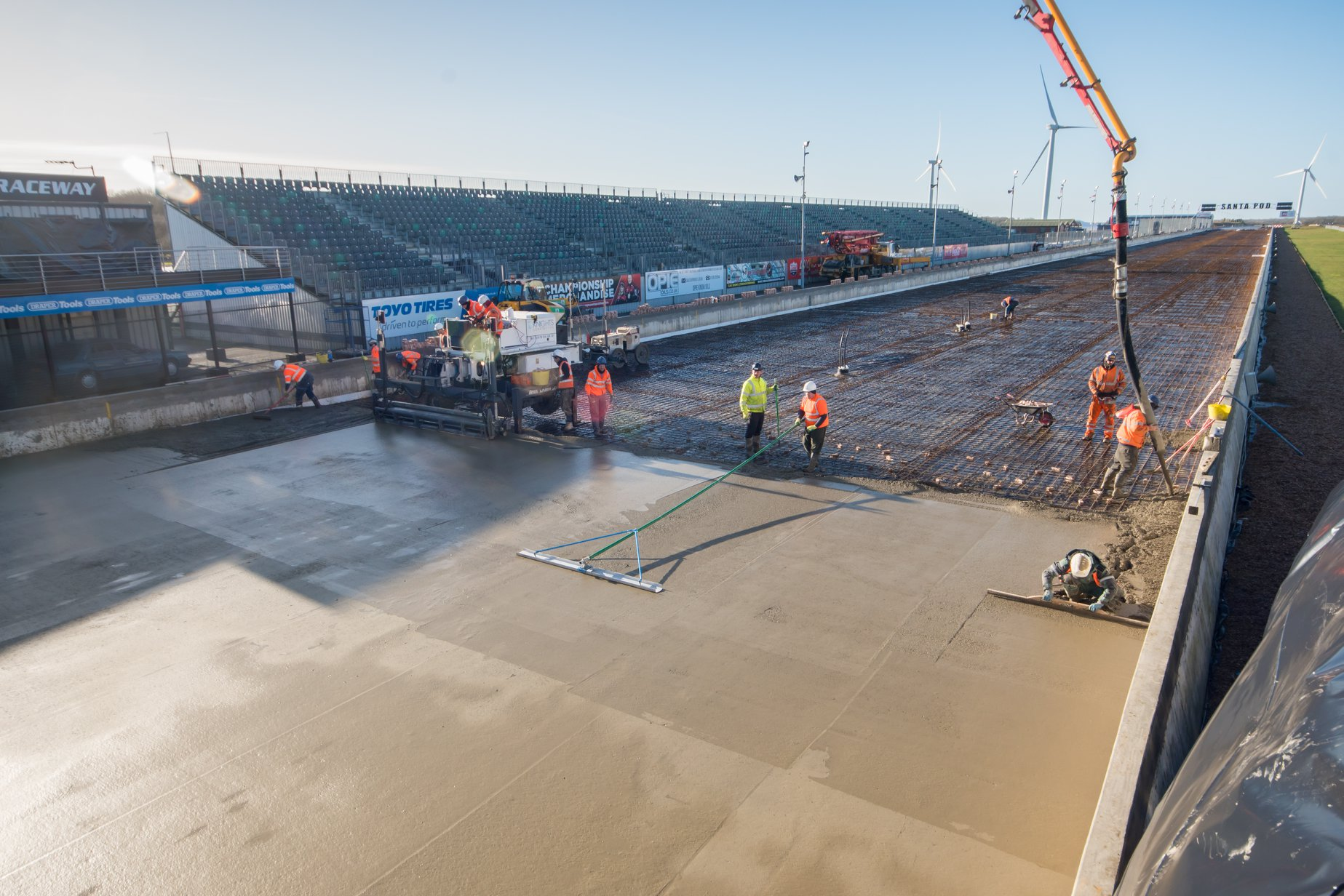 drag racing track concrete pour